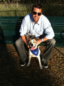 Scott Boyer with his rescue dog, Patch
